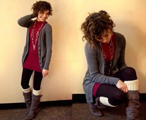Leg Warmers and Boots: Leggings Warmers, Fashion, Fall Dresses With Riding Boots, Sweaters Dresses, Fall Outfit With Riding Boots, Casual Looks, Cute Outfit, Grey Boots, Leg Warmers