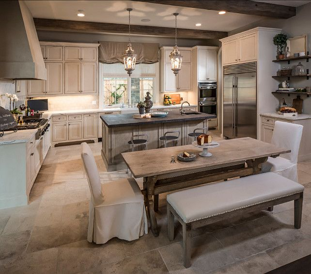 """This has to be one of my favorites French kitchen!  Kitchen Cabinet Paint Color: """"Benjamin Moore Dove Wing 960″.  The kitchen countertop..."""