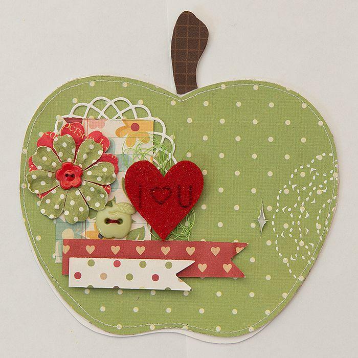Сделать открытку, открытка скрапбукинг яблоко