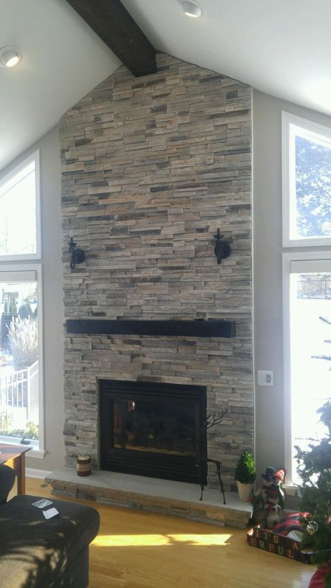 image result for floating beam mantle with ledgestone - Steinplatte Kamin Surround
