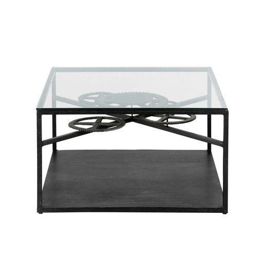 Mesa baja de estilo industrial negra