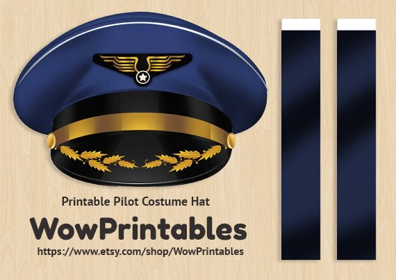 Pilot Costume Hat - PRINTABLE Download - easy to make! ( Black and white template also included! )