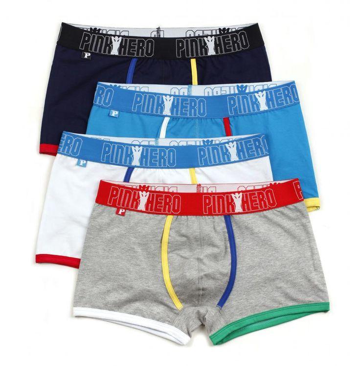 Pink Heroes 4pcs/lot Men Boxers Underwear Fashion Color Cotton Boxer Mens Underwear Sexy Brand Men Underwear Boxer Shorts