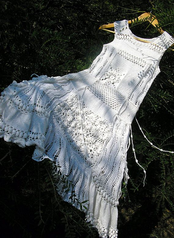 White summer dress Hand knitted and crocheted dress Lace