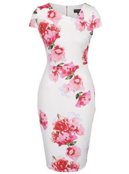 Krémové kvetované puzdrové šaty Dorothy Perkins