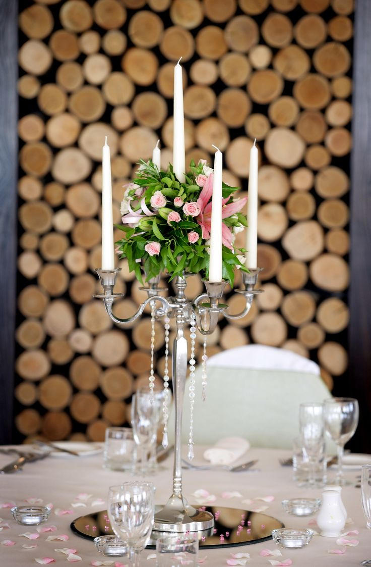 Floral candleabras with crystal drop details