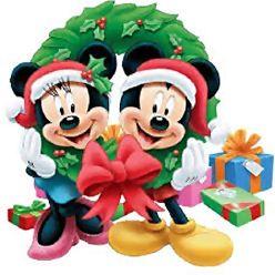 Mickey en Minnie samen in krans met Cadeautjes