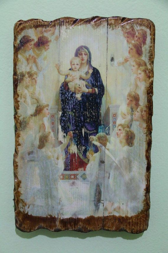 Blessed Virgin Mary with young Jesus. Handmade in Hellas-Greece. Dimensions: 7,85 x 11,80 inches / 20 x 30 cm