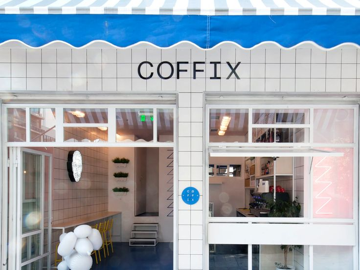 studiomateriality's design of coffix, a coffee shop in Athens, Greece is a quaint space with a happy palette of colors, that could only brighten one's day.