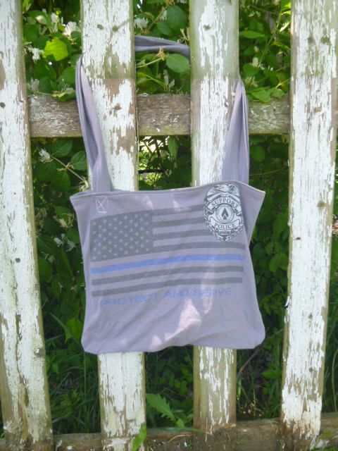 Support Police Tee Shirt Tote Bag Green Eco Friendy Reusable Cotton Shopping Bag by WileysAttic on Etsy