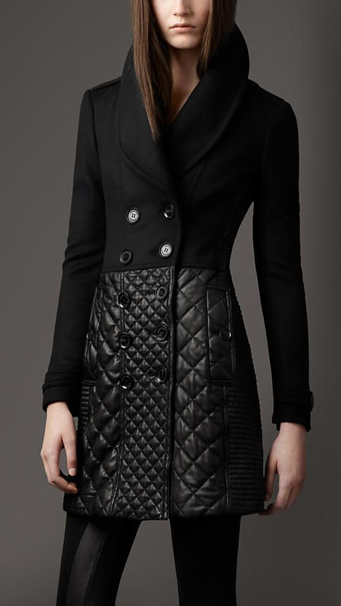 Ooh!!!! Heart palpitations - (Multi Quilt Leather Skirt Coat | Burberry)