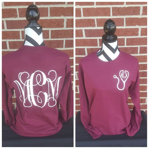 Monogrammed Nurse Stethoscope Long Sleeve by ElleQDesigns on Etsy