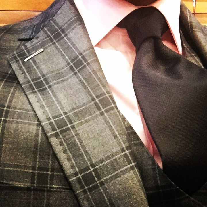 Bespoke Charcoal plaid 3 piece suit, fabric by Gladson ...