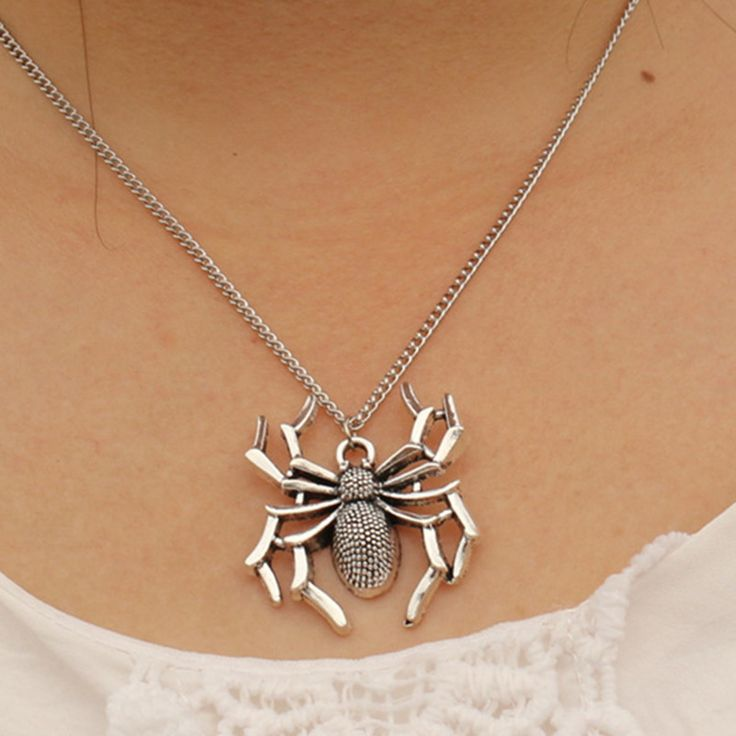 N946 Spider Steampunk Necklaces & Pendants Men Bijoux Antique Silver Plated Necklace Punk Fashion Jewelry Collares 2017 NEW
