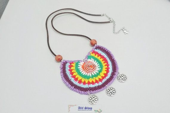 SUPER SALE /Crochet Necklace /Colorful jewelry /Wooden by AfifShop
