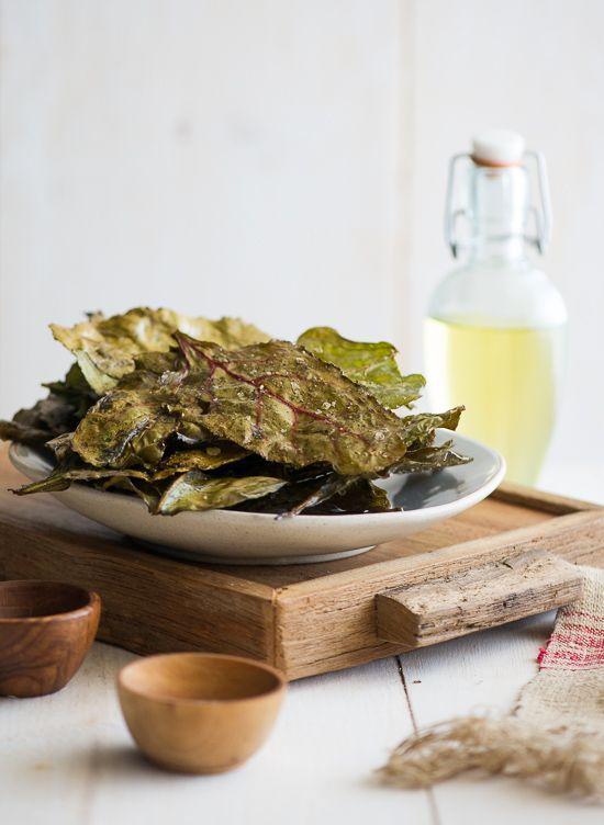 Baked Beet Greens - alternative to kale chips (WhiteOnRiceCouple.com)