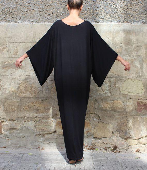 Black Maxi Dress Caftan Abaya Plus size by cherryblossomsdress
