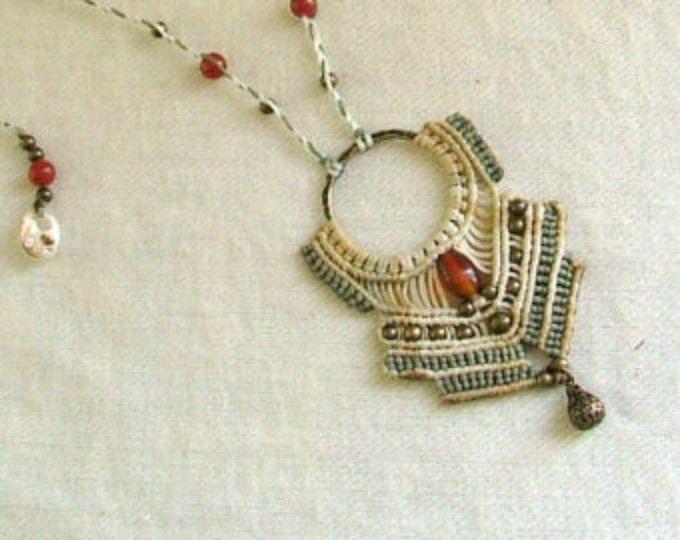 Goddess Beaded Macrame Necklace