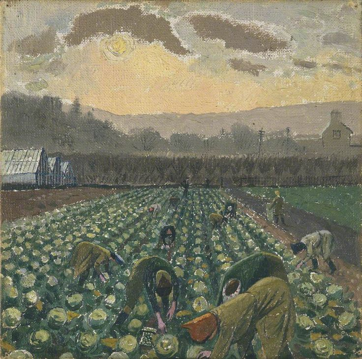 Sprout Picking, Monmouthshire by Evelyn Mary Dunbar (British 1906-1960)