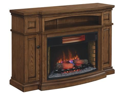 "Midway Electric Fireplace in Premium Oak at Menards®: Midway TV Stand for TVs up to 65"" with 32"" Curved Infrared Quartz Fireplace, Premium Oak"