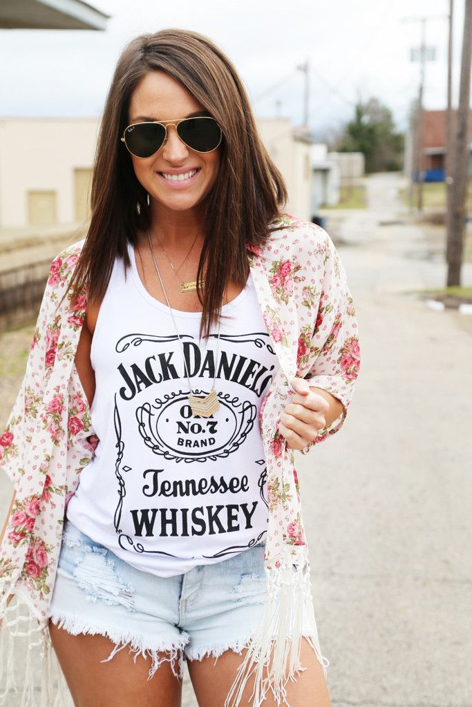 Jack Daniel's Racerback Tank {White} cute outfit for a country concert