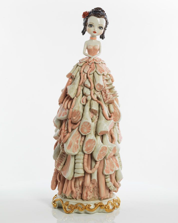 Mark Ryden Porcelain Meat Dress, 2012 porcelain 23 x 8 x 8 inches 58.4 x 20.3 x 20.3 cm Edition of 9 Courtesy the artist and Paul Kasmin Gallery.