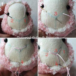 coser calcetín nariz ovejas