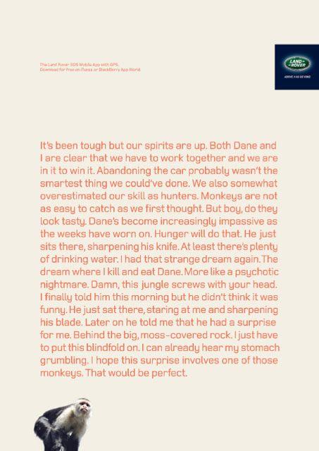 "Agency: YR Dubai | BRONZE LION CAMPAIGN - PRESS CRAFT (Copywriting) | Land Rover Mobile App campaign ""Monkey"""