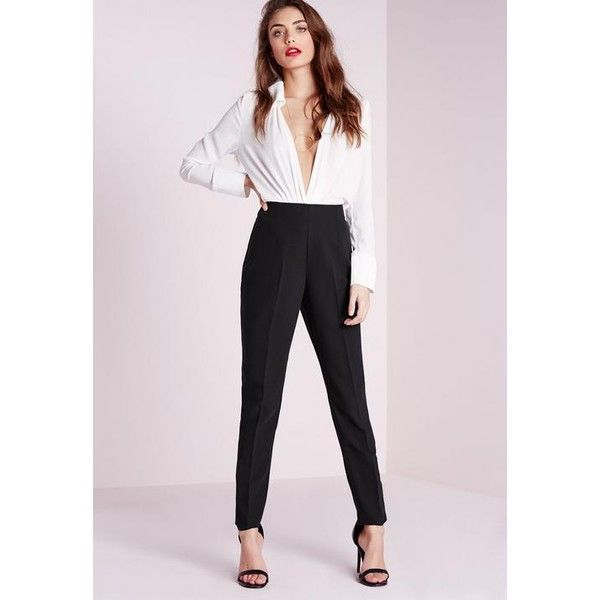 Missguided High Waisted Cigarette Trousers (55 AUD) ❤ liked on Polyvore featuring pants, black, high waisted cigarette trousers, cigarette trousers, high-waisted trousers, high waisted pants and high rise pants