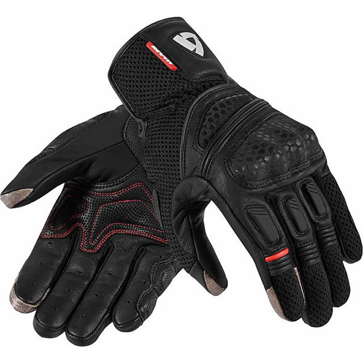 Summer Motorcycle Gloves Rev'it Dirt 2 Leather and Fabric Blacks