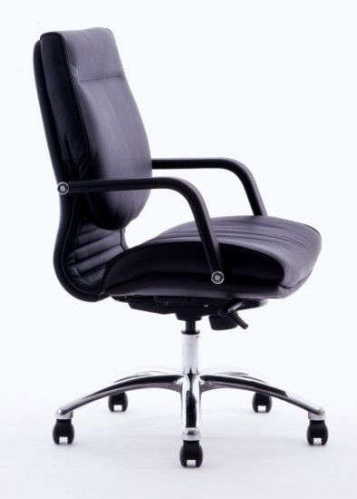 The Classic Mid Back Executive Chair is standard Upholstered in Luxurious Black Soft Grade Leather, with Leather Fixed Armrests and a Polished Aluminum 5 Star Base. Available at seated.com.au