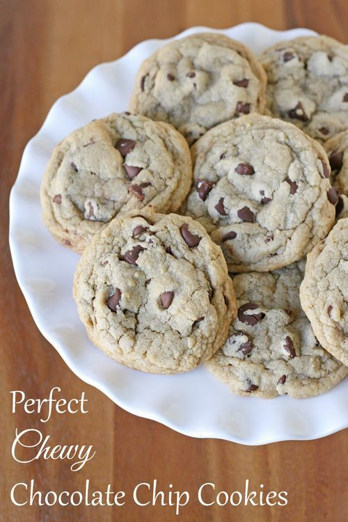 Title: Perfect Chewy Chocolate Chip Cookies... A perfect balance of textures and flavor, these chewy chocolate chip cookies are a favorite!