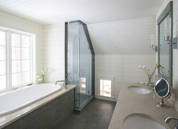 26 besten Bad Bilder auf Pinterest Badezimmer, Dachausbau und - inspirationen schwarz weises bad design
