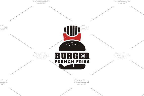 French Fries Burger Fast Food Logo Logo Design Template Fast Food Logos Logo Design