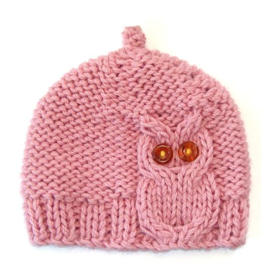 Pink Owl Cable Knit Hat by laceandcable on Etsy, $32.00