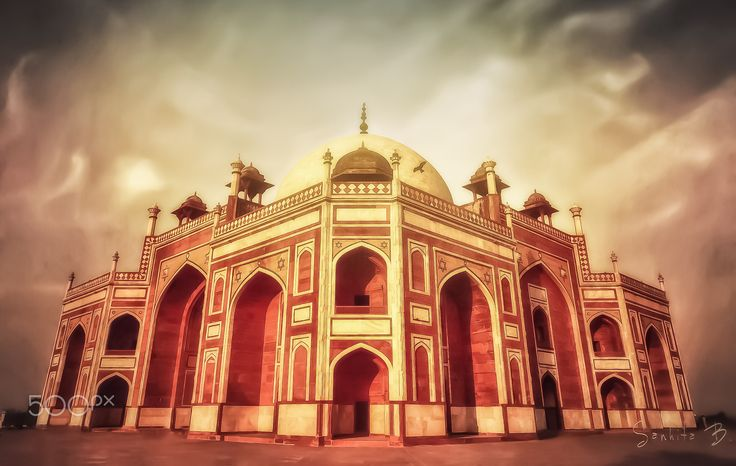 Humayun's tomb... - An edited and colour version ( a re-upload ) of an old shot of 'Humayun's tomb' in Old Delhi.. Please click on the image for a better view..  About Humayun's tomb.. The last refuge of Mughal Emperor Humayun reminds rather of a luxurious palace, than a tomb. Located in the eastern part of Dehli, Humayun's tomb is one of the best preserved Mughal monuments.  This spellbinding mausoleum is the first example of Mughal architecture in India. After a century from its…