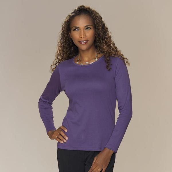 Superior semi-fitted crew neck top with long sleeves.    100% silky soft Pima Cotton   SaveSaveSaveSaveSaveSave