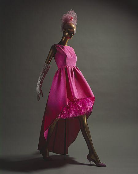 Evening dress, ca. 1959  Cristobal Balenciaga (Spanish, 1895–1972)  Pink silk gazar with matching pink feathers