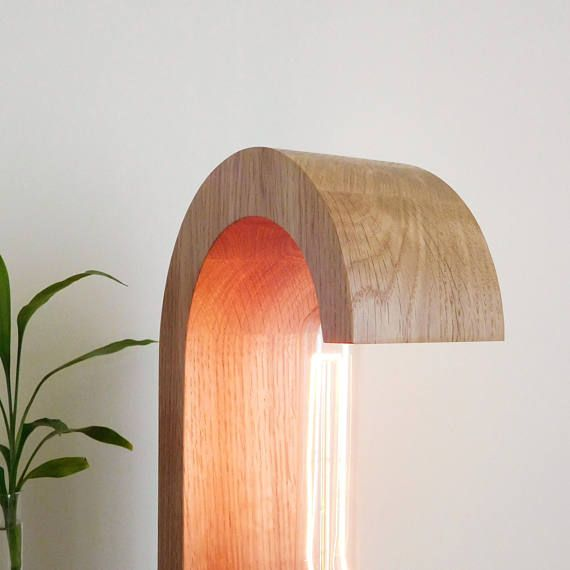 Wooden bedside edison lamp with dimmer of solid oak wood
