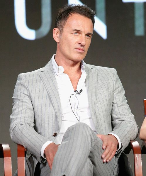 Actor Julian McMahon speaks onstage during the 'Hunters' panel discussion at the NBCUniversal portion of the 2015 Winter TCA Tou at Langham Hotel on January 14, 2016 in Pasadena, California.