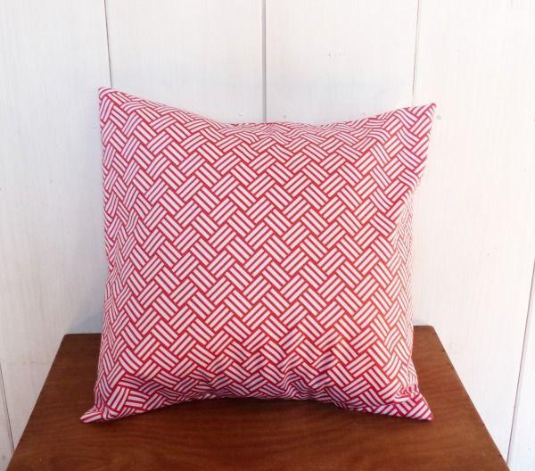 Housse de coussin 40 x 40 cm tissu motif géométrique chevrons CORAIL déco scandinave
