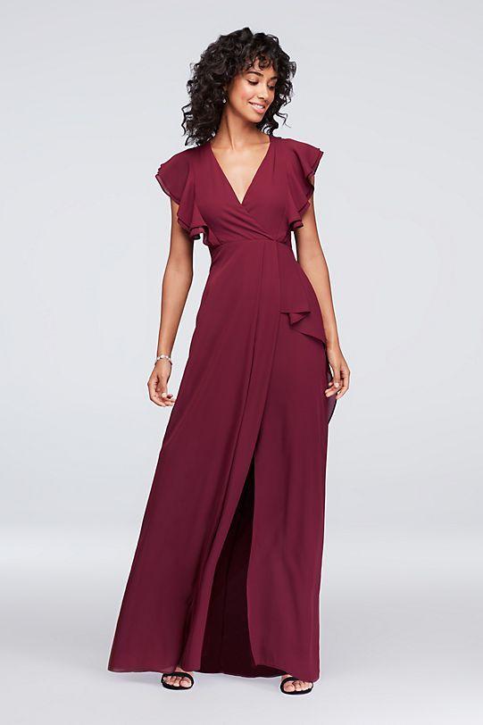 e6b43fd42f8 Soft flutter sleeves trim this V-neck chiffon bridesmaid dress