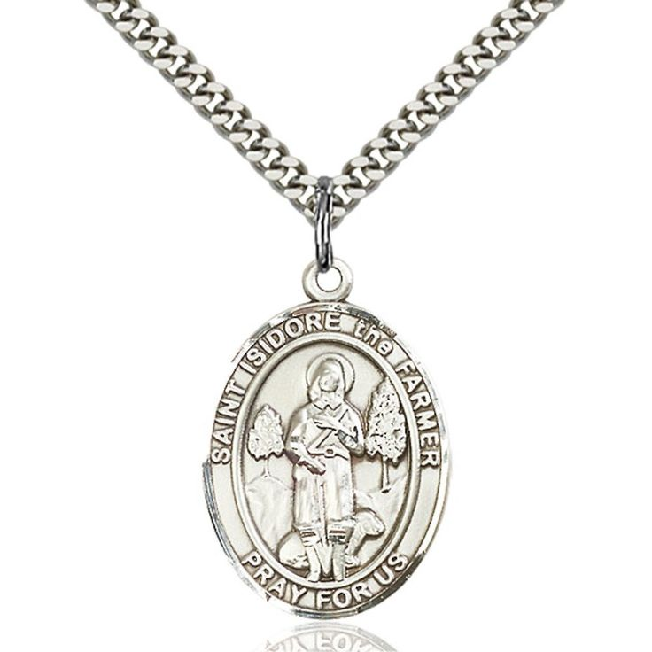 Custom Engraved Sterling Silver St. Isidore the Farmer Pendant 1 x 3/4 inches with Heavy Curb Chain. Custom Engrave a special message for Confirmation, First Communion, Baptism, New Baby, Anniversary, Memorial, etc!. Sterling Silver, 24-inch Chain Included. 1 x 3/4 inches. Hand-Made in Rhode Island with Lifetime No-Tarnish Guarantee. Great prayer aid gift for Confirmation, First Communion, Baptism, Memorial, etc.