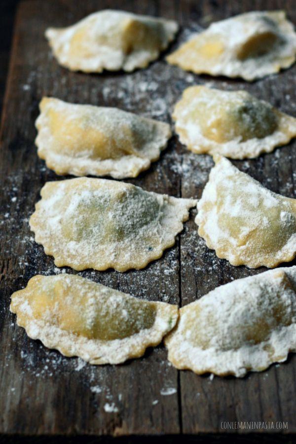 Mezzelune ripiene di cavolo nero e robiola di Roccaverano--Half-moon ravioli filled with kale and creamy Robiola di Roccaverano DOP, a Piemontese cheese