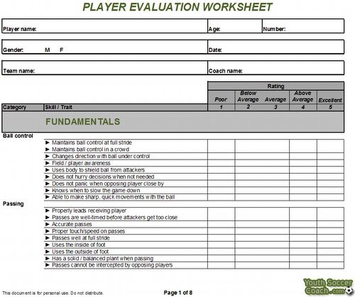soccer player evaluation form - Google Search