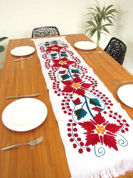 Handmade Mexican Christmas Table Runner | Chiapas Bazaar | Handmade Mexican Blouses, Accessories & Home Decor from Rural Artisans |Christmas collection