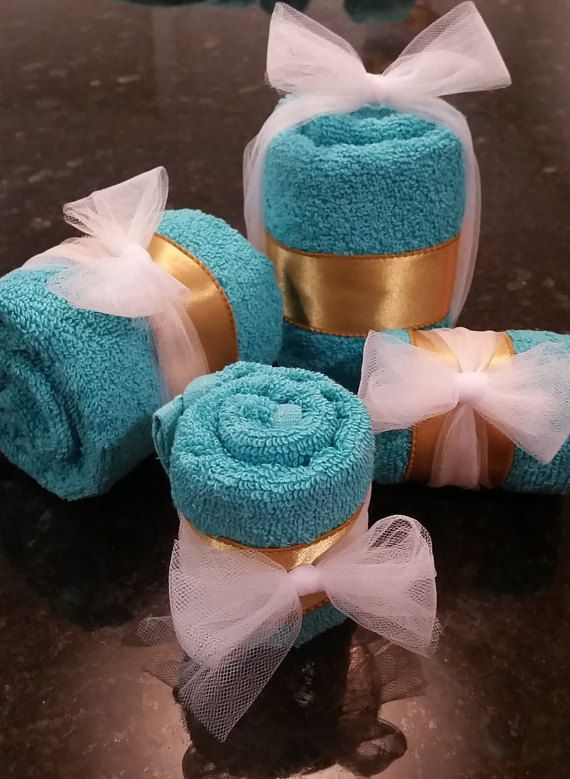 Turquoise and gold Towel Cake and favors. FREE SHIPPING 2 tier
