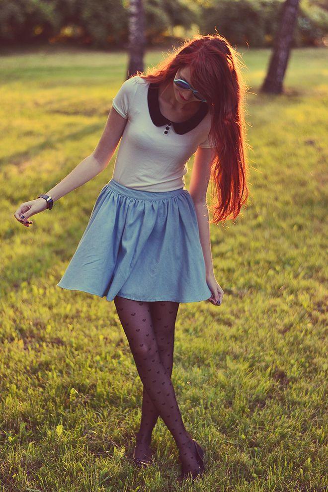 peter pan collar + circle skirt