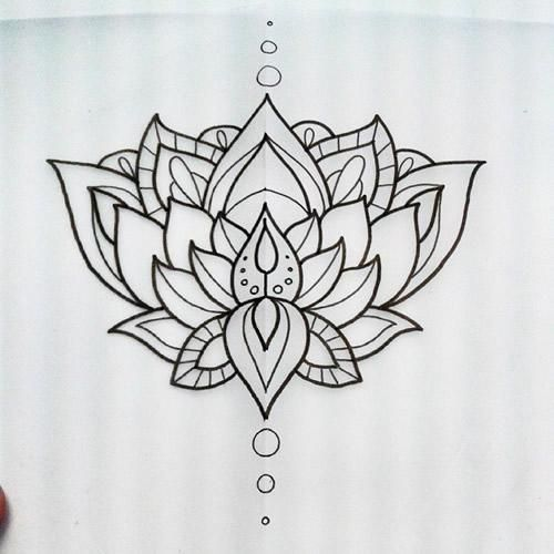 Attractive Black Outline Lotus Flower Tattoo Design