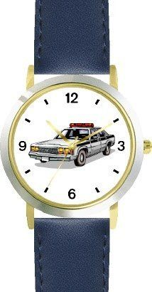 Police Car 2 - WATCHBUDDY® DELUXE TWO-TONE THEME WATCH - Arabic Numbers - Blue Leather Strap-Size-Children's Size-Small ( Boy's Size & Girl's Size ) WatchBuddy. $49.95. Save 38% Off!